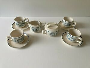 Lenox Temperware Dewdrop Sugar and Creamer Dishes with 4 Cups & 4 Saucers