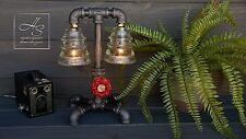 """The """"Fireman"""" Industrial Pipe Desk,Table, Steampunk Lamp - Firefighter gift"""