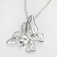 Hollow Fashion Jewelry Silver Plated Butterfly Necklace Pendant Chain Necklace