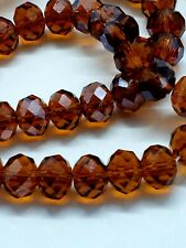 Glass Beads Facet Cut Topaz Brown Rondelle 8mm Strand of 72
