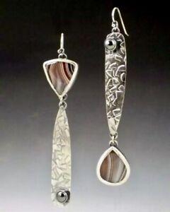 Unusual Resin A-Symmetrical Earrings Dangle Stone Metal Ethnic Vintage Jewelry