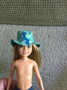 Stacie Barbie Doll Hat Light Blue White Turquoise Floral Bucket Style Cotton