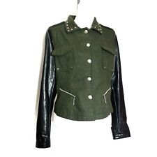 Joujou Womens Size Large Jacket Green Punk Spike Studded Rivet Collar Shoulder