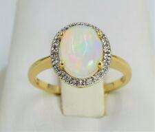 14k Yellow Gold Natural Ethiopian Opal And Diamond Halo Ring Sz. 7