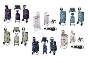 "22"" Flower Cat Print Folding 2 Wheeled Lightweight Shopping luggage Trolley Bag"