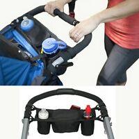 Kids Baby Stroller Safe Console Tray Pram Hanging Black Bottle Cup Holder Bag S
