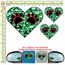 herts stickers bomb skull green cuore orme cane tuning helmet moto serbatoio 3pz
