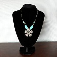 Women's Gypsy Turquoise Flower Pendant Silver Vintage Link Chain Necklace