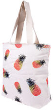 Tropical PINEAPPLE Ananas Canvas LEINENTASCHE - Creme Rockabilly