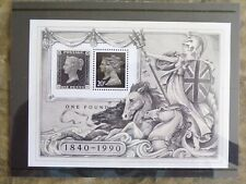 Gb 1990 Stamp World London 90' Miniature Sheet Ms1501: Mint, in case, with notes
