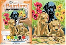 LABRADOR PUPPIES DOGS SNAIL & FLOWERS A4 PAINTING BY NUMBERS PAINT & BRUSH PJS30