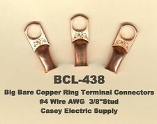 """20 Bare Battery Big COPPER Ring Lug Terminal Connector #4 Wire Gauge 3/8"""" Stud"""