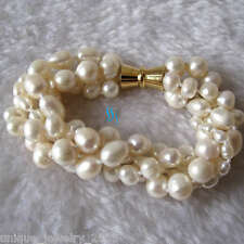 """7-8"""" 4-10mm White freshwater pearl Bracelet Golden Clasp Off Round Rice"""