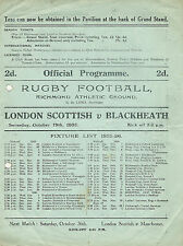 London Scottish V programa Rugby Blackheath 19 de octubre de 1935