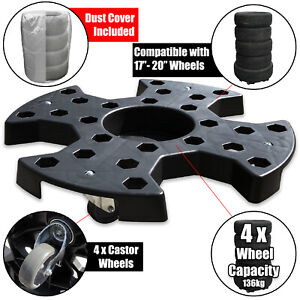 Car, SUV, Tyre Roller 4 x Wheel Dolly and Dust, Waterproof, Storage Cover Set