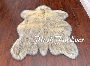 "PlushFurEver 58"" x 72""  Cute Husky Buffalo Shape Plush Black Tip Ivory Kids Rug"