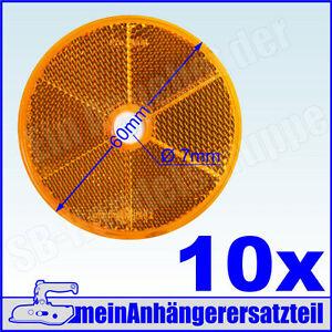 10x Rückstrahler Katzenauge runder Strahler Seitenstrahler rund 60mm gelb 10x