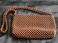 Vintage Beaded Lined Shoulder Bag Purse Brown Mod Retro 50's 60's Made in Japan