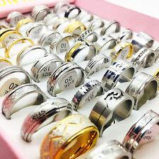 wholesale 50pcs/pack mixed styles men's women's fashion jewelry steel rings