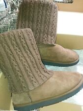 Love From Australia 'cozi zipped' brown sheepskin boots with knitted overlay 6