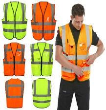 Unisex Hi Vis Viz Executive Waistcoat High Visibility Work Reflective Safety Top