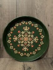 More details for vintage retro green round metal tray mid century 1960s pat albeck