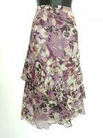 Gerry Webber skirt size 16 Midi floral floaty layered chiffon purple pink VGC