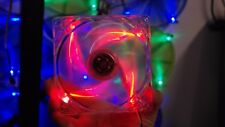 Quad 4 RED LED Lights Clear 120mm PC Computer Case Cooling Fan Mod (Wave fan)