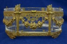 Vintage/ Antique FRENCH? ORMOLU BRONZE Vanity Trinket Box Dish w/ Glass Insert