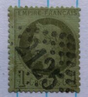 TIMBRES FRANCE : Yvert et Tellier N°25 1c Bronze oblit. losang Gros chiffres