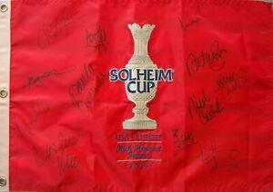 2009 US Solheim Cup Team signed golf pin flag Paula Creamer Gulbis Kerr Lang Wie