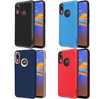 For Motorola Moto E6 Plus Rubber Sleek Hybrid Impact Dual Layered Cover Case