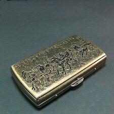 Vintage Cigarette Case Metal Brass Holder Horses