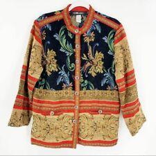 Vintage Long Sleeve Carpet Jacket Black Red 12 Women's Boho Chic Coat