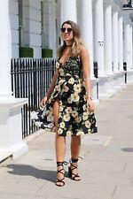 TOPSHOP floral garden print wrap DRESS size 14 midi  wedding bloggers fav black
