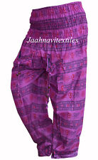 INDIAN BAGGY GYPSY HAREM PANTS YOGA MEN WOMEN PINK OM PRINT COTTON TROUSER
