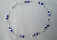 Silver Wave Anklet with Sapphire Blue Crystal ~ Ankle Bracelet