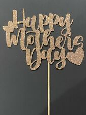 Happy Mother's Day Cake Topper Rose Gold Glitter Card