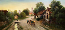 """high quality 72x24 oil painting handpainted on canvas""""village street """"@NO7648"""