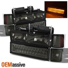 Smoked 1994-1998 C10 C/K Suburban Silverado Headlights+LED Bumper 1995 1996 1997