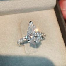 Solitaire 2.40CT White Pear Cut Diamond Anniversary Engagement Ring 925 Silver