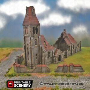 WWII Terrain - Ruined Medieval Church 15mm - Flames of War, Bolt Action