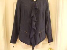 WRAP London Cotton/Silk Blend Sz US 8/UK 12 Navy Blue Zippered Women's Jacket