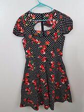 voodoo vixen NEW L black floral polka dot rockabilly VLV pin-up dress retro