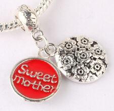 925 Silver sweet mother Charm Beads Fit European Charm Bracelet Pendant #E375