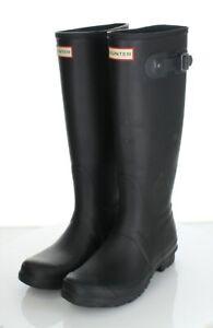 Y60 $150 Women's Sz 7 M Hunter Original Tall Rubber Rain Boot In Black