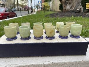 Wonderful Antiques Chinese Set Of 12 Jade Cups