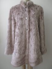 DENNIS BY DENNIS BASSO PLATINUM BLUSH FAUX FUR LONG SLEEVE COAT SIZE M - NWT