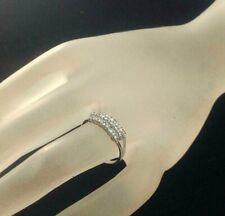 Lady's 18k White Gold 3 Rows 19 Round Genuine Diamond Band Ring 0.50 Ct. Sz.6.75
