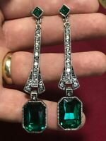 Vintage Style Art Deco Egypt Geometric Large Drop Earrings Emerald Green Crystal